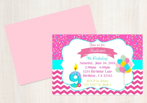 9th Birthday Invitation 9 Year Old Invite Printable Party