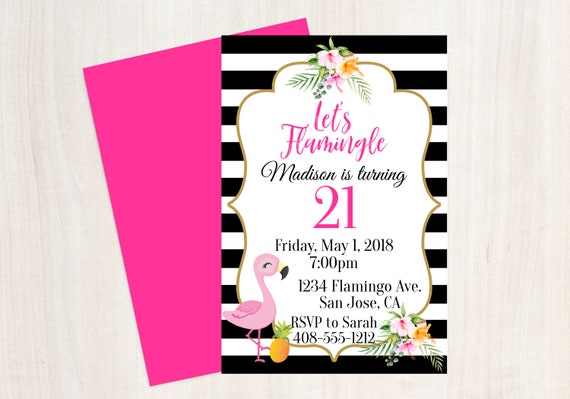 21st birthday invitation 21st birthday invite flamingo 21st