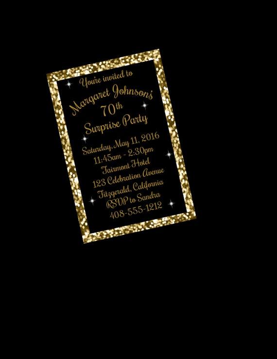 70th Birthday Invitation Surprise Party Black And Gold Printable Invite