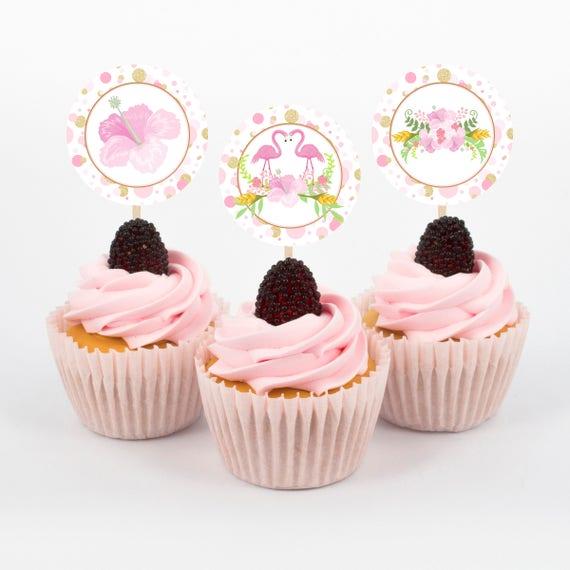 Flamingo Decor Cupcake Toppers Luau