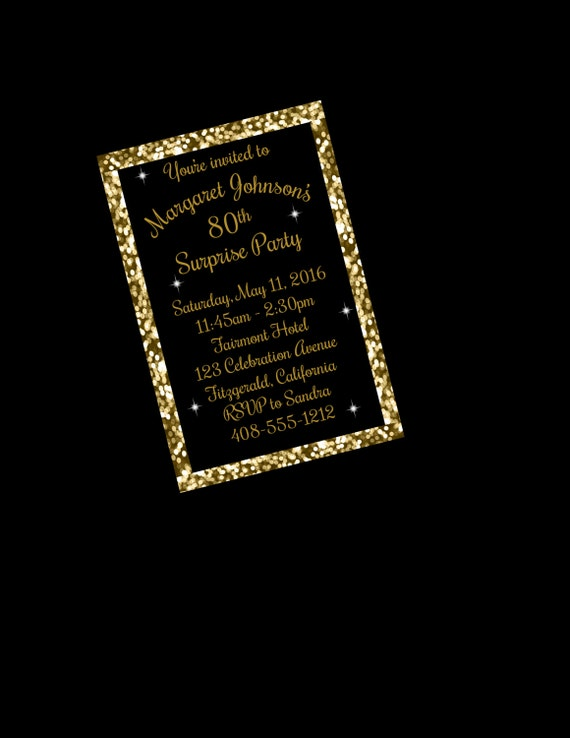 80th Birthday Invitation Surprise Party Black And Gold Invite Printable