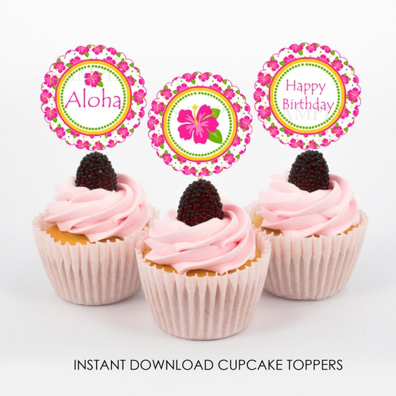 Hibiscus Luau Summer Party Cupcake Toppers Birthday