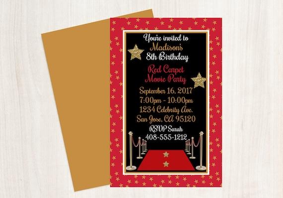 Movie Party Invitation Birthday Red Carpet