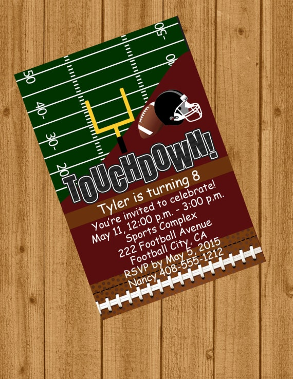 Football Invitation Sports Birthday Boys
