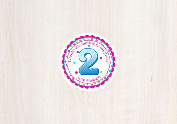 2nd Birthday Favor Tag Second Girls