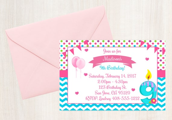 9th Birthday Invitation Printable Invite 9 Year Old Party Girls