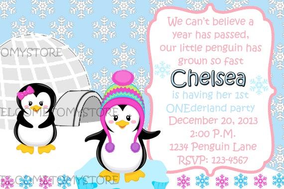 Winter Onederland Invitation Onederland Invite Penguin Etsy