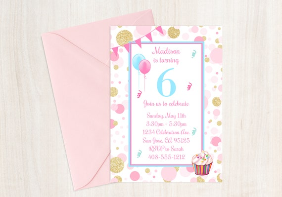 6th Birthday Party Invitation Sixth Invite Girls Pink And Gold Cupcake