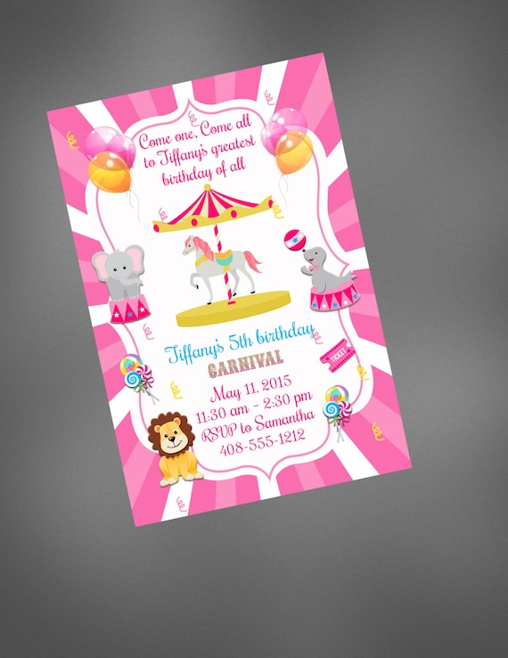 Carnival Invitation Birthday 1st Circus Printable Invite