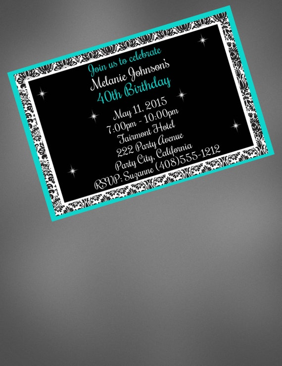 40th Birthday Invitation Surprise Party Big 40 Blue And Black Printable