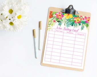 Tropical Wine Tasting Scorecard, Wine Tasting Score Card, Score Sheet, Wine Tasting Party, Scoring Card, Wine Notes, Wine Party, Printable