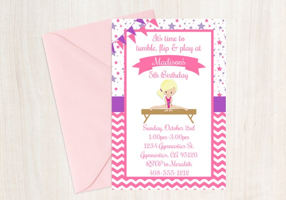 Gymnastic Birthday Party Invitation Gymnastics Printable Gymnast Tumbling Invite