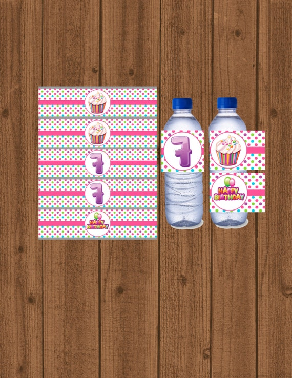 Cupcake Bottle Water Labels 7th Birthday Label Party Decorations Instant Download