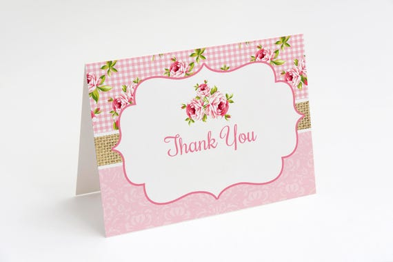 Floral Rose Thank You Card Shabby Chic Thank You Card Shabby Etsy