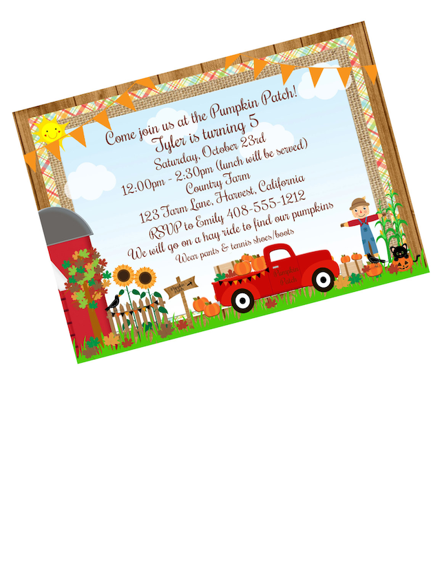 Pumpkin Invitation Patch Birthday Hayride Halloween 1st Party