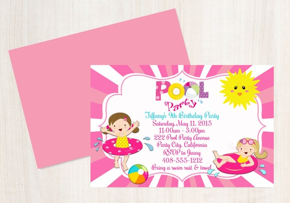 pool party birthday invitation girls swimming party invitation