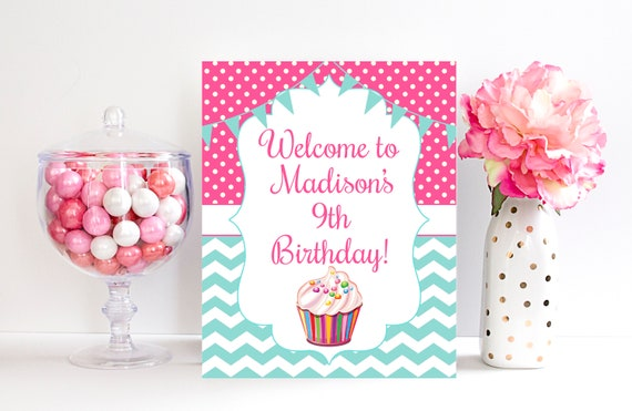9th Birthday Welcome Sign Decorations