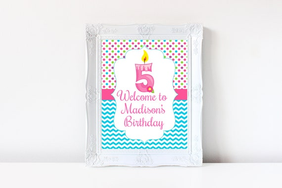 5th Birthday Welcome Sign Decorations Printable Fifth 5 Year Old Party