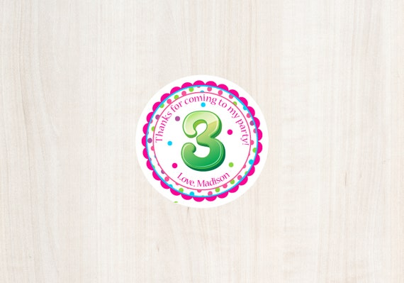 3rd Birthday Favor Tag Third Girls