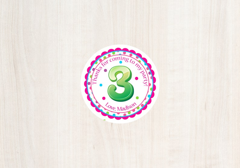 3rd Birthday Favor Tag Third Girls