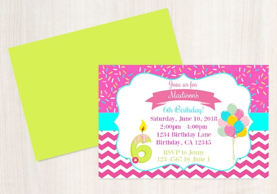 6th Birthday Invitation Printable Invite 6 Year Old Years