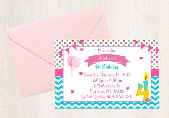 4th Birthday Invitation Printable Invite 4 Year Old Party Girls