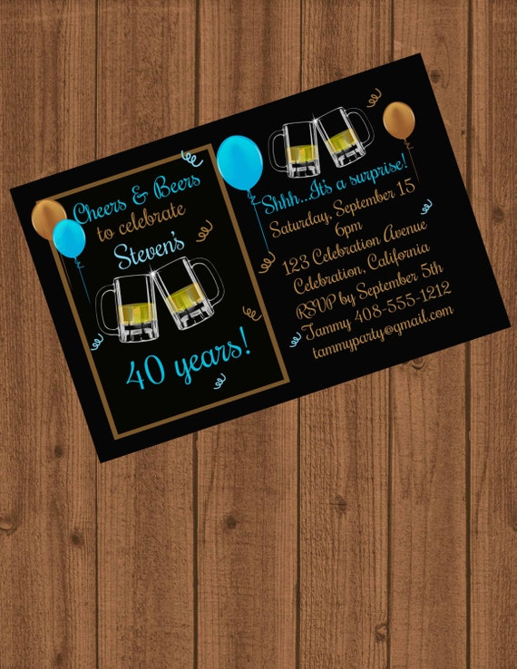 Cheers Beers Invitation BBQ Beer 40th