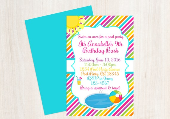 Pool Party Birthday Invitation Girls Beach