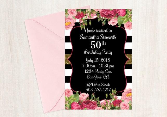 50th Birthday Invitation Invite Printable Floral
