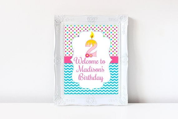 2nd Birthday Welcome Sign Decorations Printable Second 2 Year Old Party Decoration