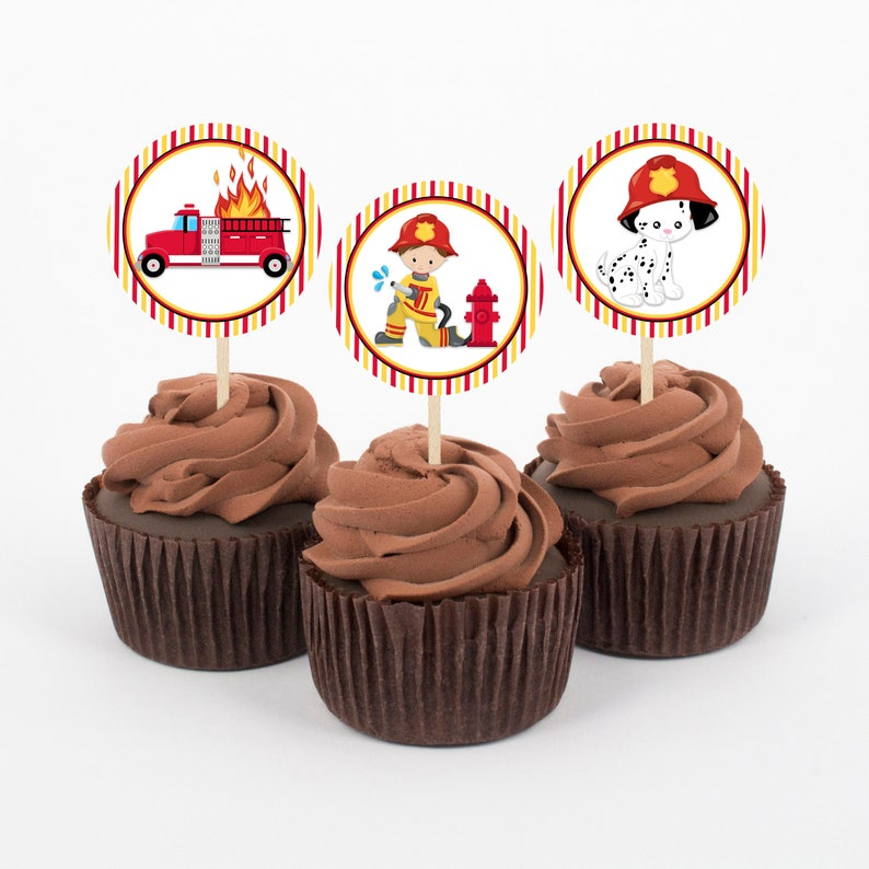 Fireman Cupcake Toppers Birthday Cupcake Toppers Firefighter Etsy