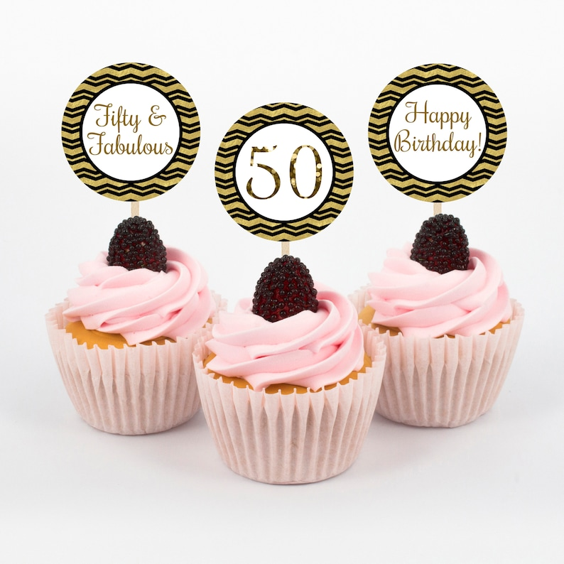 Fifty And Fabulous Cupcake Toppers 50th Birthday Party Topper Gold Black
