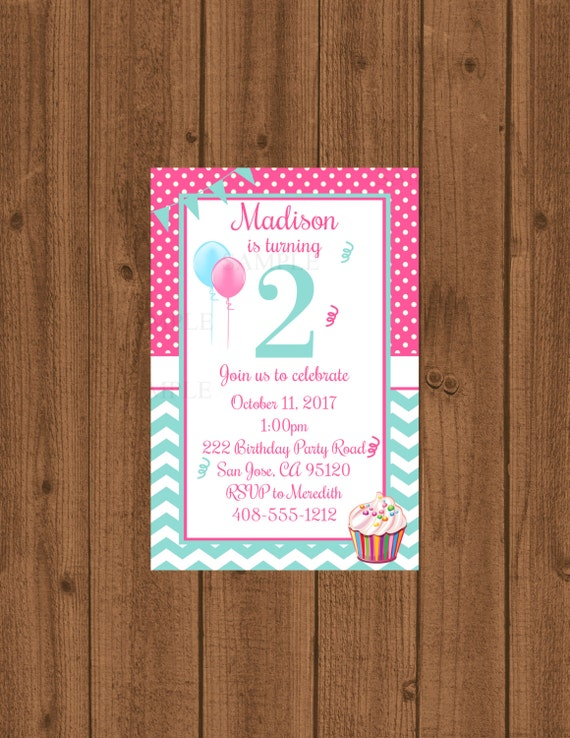 2nd Birthday Party Invitation Second Girls 2 Year Old