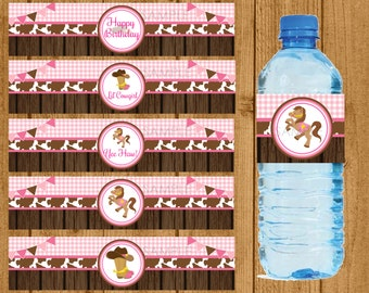 Lil Cowgirl Birthday, Lil Cowgirl Water Bottle Labels, Lil Cowgirl, Cowgirl Party, Cowgirl Birthday Party, Cowgirl, Instant Download