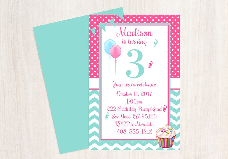 3rd Birthday Party Invitation 3rd Birthday Third Birthday