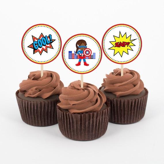 image relating to Superhero Cupcake Toppers Printable identify African American, Superhero, Cupcake Toppers, Superhero