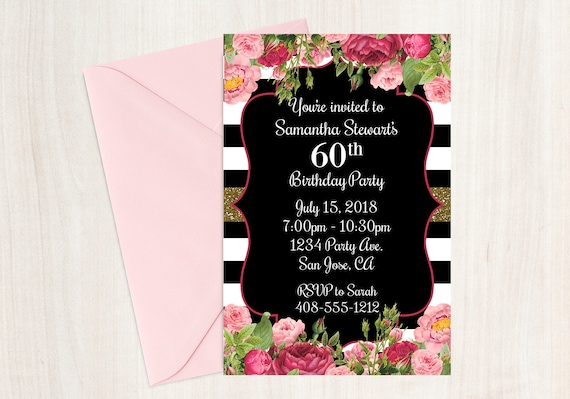 60th Birthday Invitation Invite Printable Floral Boho 60 Years Old