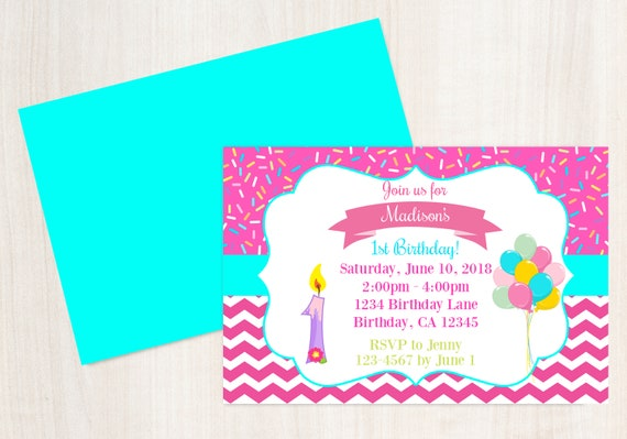1 Year Old Invitation Invite 1st Birthday First Printable