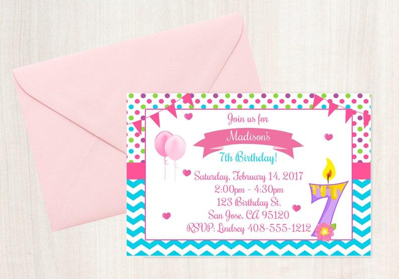 7th Birthday Invitation
