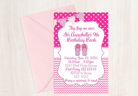 flip flop pool party birthday invitation girls summer beach etsy