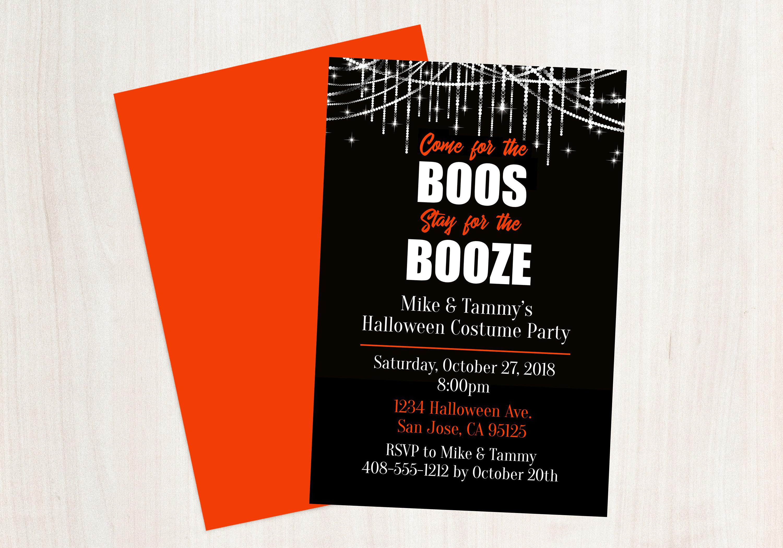 Buh-Rufe und Alkohol Halloween-Einladung kommen für die | Etsy