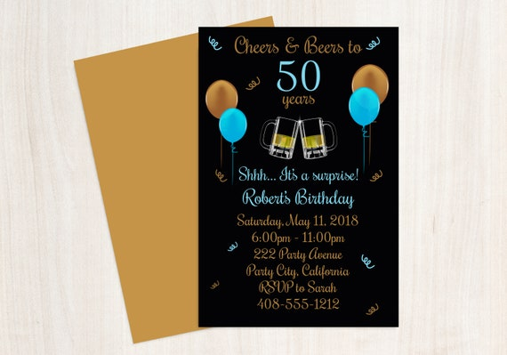 50th Birthday Cheers And Beers Invitation Beer Invite Printable Party