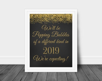 New Years Eve Pregnancy Announcement, Baby Announcement, Popping Bubbles of a Different Kind, We're Expecting Sign, Pregnancy Reveal