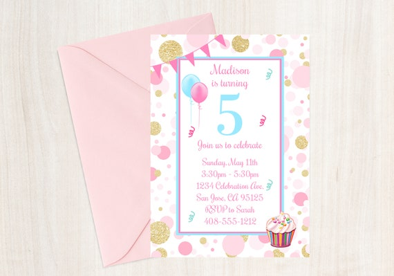 5th Birthday Party Invitation Fifth Invite Girls Pink And Gold Cupcake