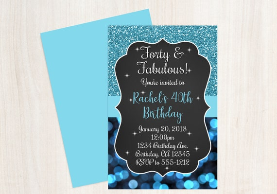 40 And Fabulous Birthday Invitation Forty