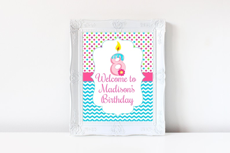 8th Birthday Welcome Sign