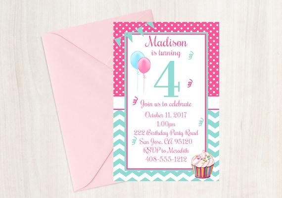4th Birthday Party Invitation Fourth