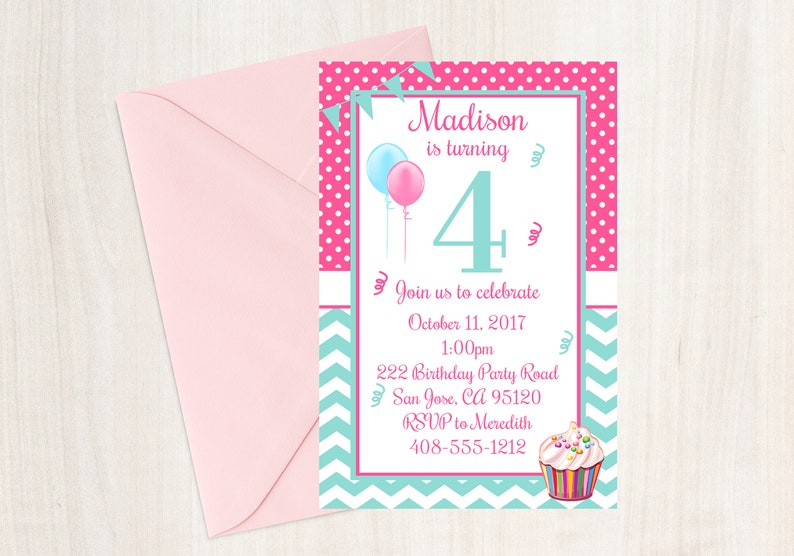 4th Birthday Party Invitation Fourth