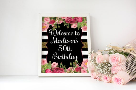 50th Birthday Welcome Sign Door