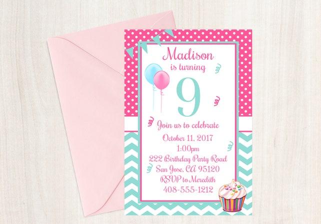 9th birthday party invitation 9th birthday ninth birthday etsy image 0 filmwisefo